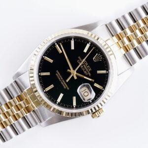 Rolex Oyster Perpetual Datejust Black 16233 1990 (Full Set)