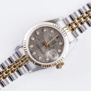 rolex-lady-datejust-silver-logo-diamond-69173-1988-full-set